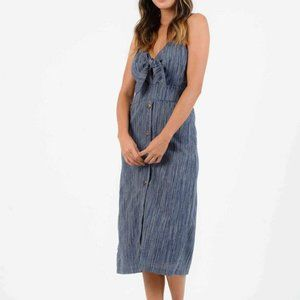 LUCCA Couture Nautical Front Button Midi Dress in